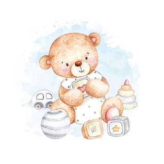 Aquarel schattige teddybeer met speelgoed