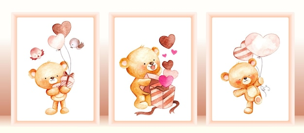 Aquarel schattige teddybeer set