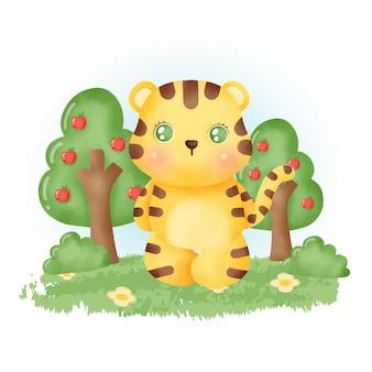 Aquarel schattige tijger in het bos.