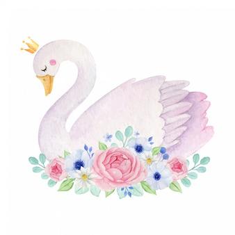 Aquarel schattige zwaan met kroon en bloemen decoratie.