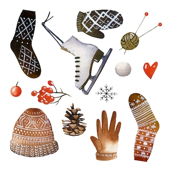 Aquarel schets winter elementen