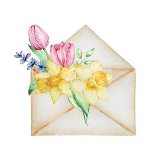 Aquarel schilderij lentebloemen, beige envelop met tulpen, narcissen. bloemstuk voor wenskaart, uitnodiging, poster, huwelijksdecoratie en andere afbeeldingen.