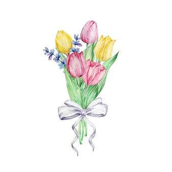 Aquarel schilderij lentebloemen, boeket met een strik met tulpen en lavendel. bloemstuk voor wenskaart, uitnodiging, poster, huwelijksdecoratie en andere afbeeldingen.
