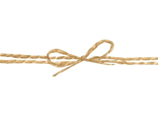 Aquarel schilderij van touw of touw gebonden in een boog