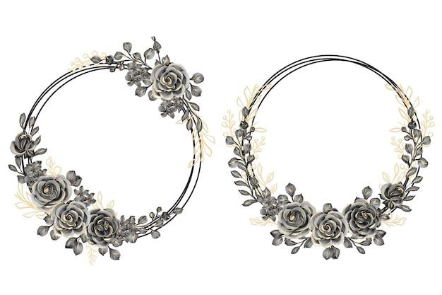Aquarel set bloemenkrans met rose zwart goud