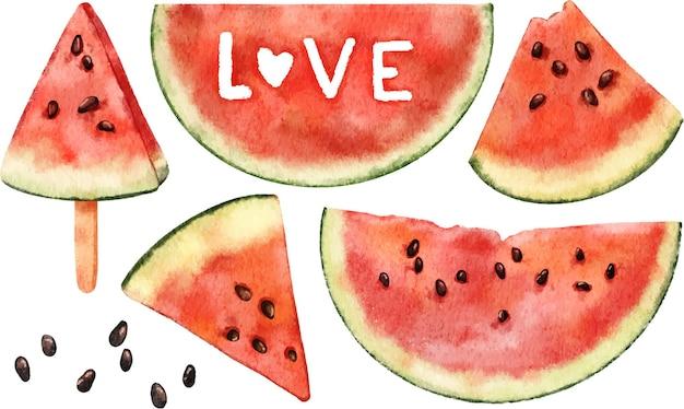 Aquarel set clipart zomer sappige rijpe rode watermeloenen geïsoleerd op wit
