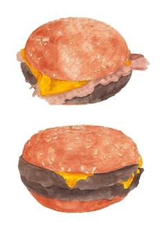 Aquarel set hamburgers met kotelet en spek