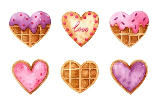 Aquarel set met hartvormige belgische wafels met glazuur en koekjes met bessenvulling en feestelijk decor