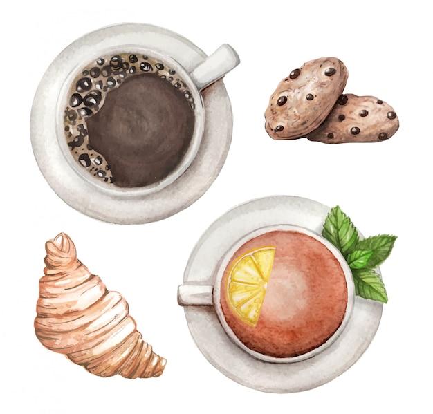 Aquarel set met thee en koffie, koekjes, croissant hand getrokken