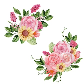 Aquarel set roze rozen boeketten op witte achtergrond