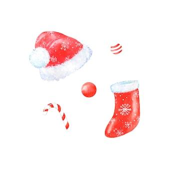 Aquarel set santa claus kleding, hoed, sok voor geschenken, snoep