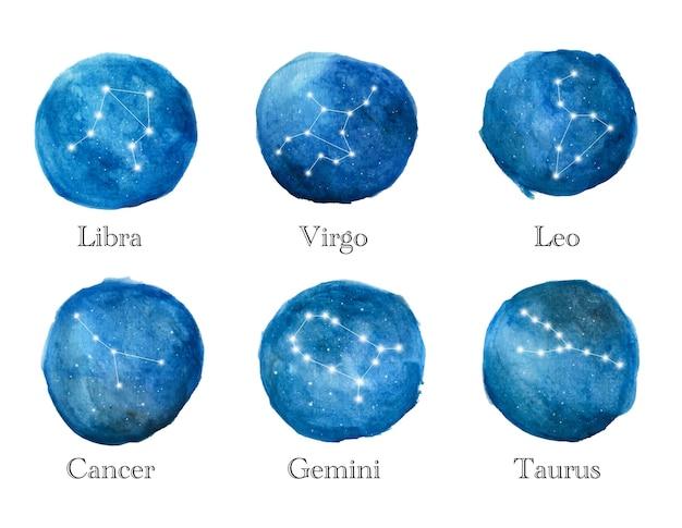 Aquarel set sterrenbeelden. ronde dierenriem symbolen.