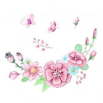 Aquarel set van een boeket bloemen en vlinders