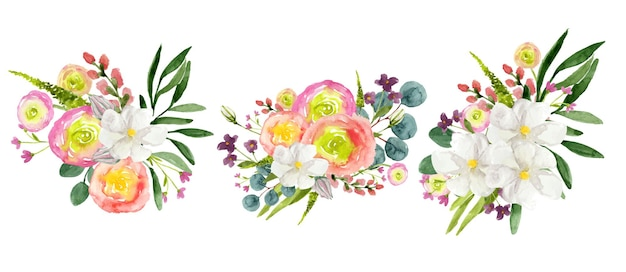 Aquarel set van kleurrijke bloemen boeketten op witte achtergrond
