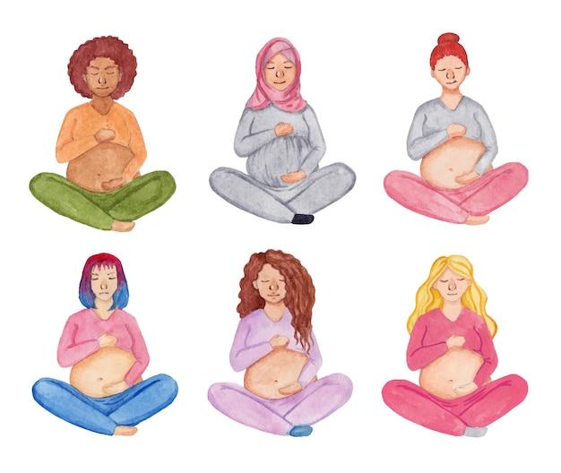 Aquarel set van zwangere vrouwen zitten in lotus veld