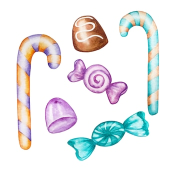 Aquarel set veelkleurige zoete snoepjes van verschillende vormen