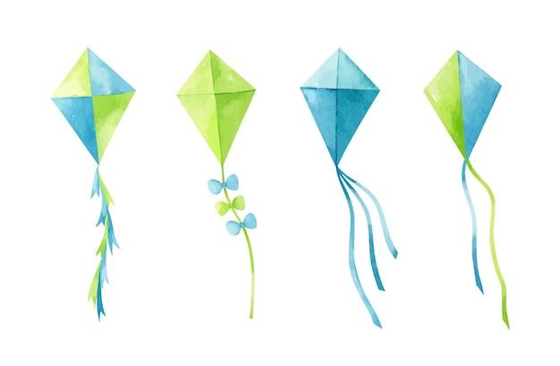 Aquarel set vliegers in groene en blauwe kleuren