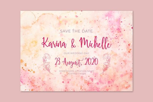 Aquarel sjabloon bruiloft uitnodiging