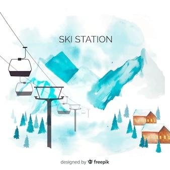 Aquarel ski station achtergrond