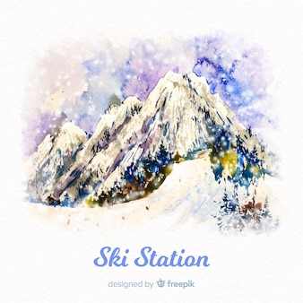Aquarel skistation