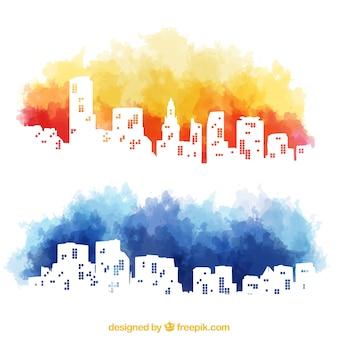 Aquarel skyline van de stad