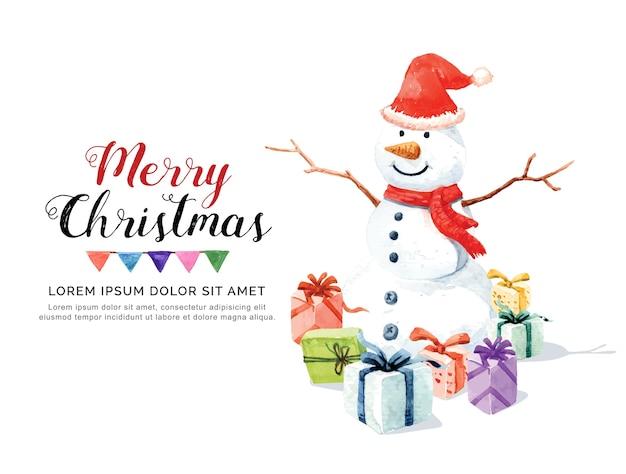 Aquarel sneeuwman en geschenkdozen.