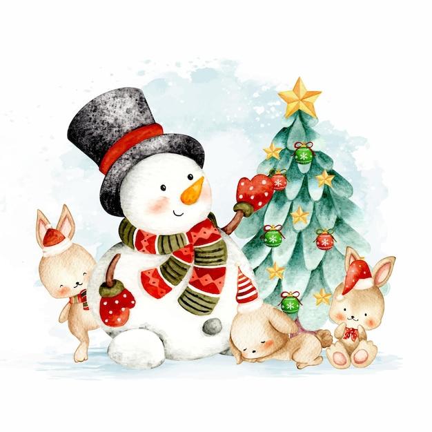 Aquarel sneeuwpop kerstboom en konijn