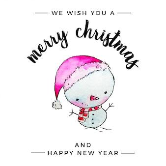 Aquarel sneeuwpop merry christmas greetings