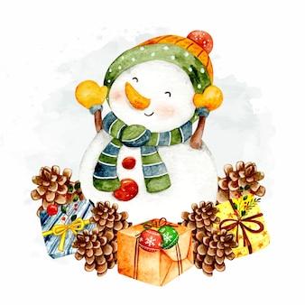 Aquarel sneeuwpop met kerst ornamenten
