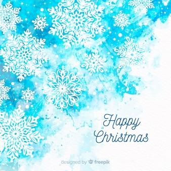 Aquarel sneeuwvlokken kerstmis achtergrond