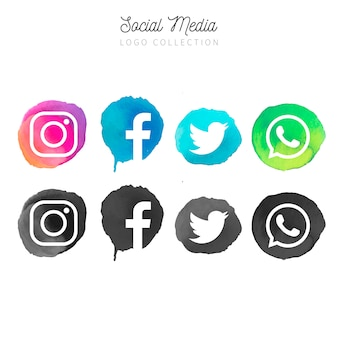 Aquarel social media logotype collection