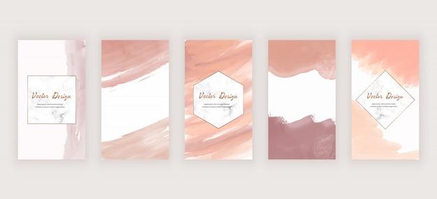 Aquarel sociale media verhalen achtergrond met naakt abstracte freehand penseelstreek vormen en marmeren frames