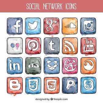 Aquarel sociale netwerk pictogrammen