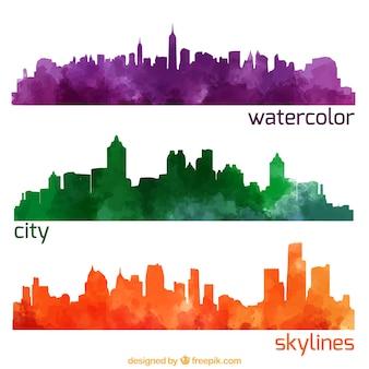 Aquarel stad skylines pakken