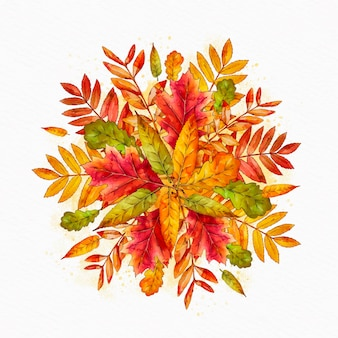 Aquarel stapel herfstbladeren
