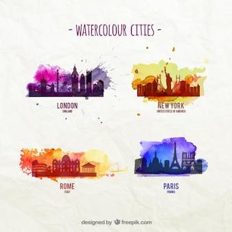 Aquarel steden