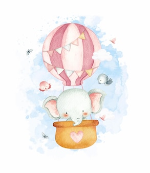 Aquarel stijl babyolifant in hete luchtballon