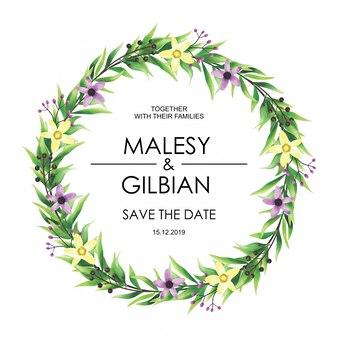 Aquarel stijl bruiloft uitnodigingskaart bladeren en bloemen