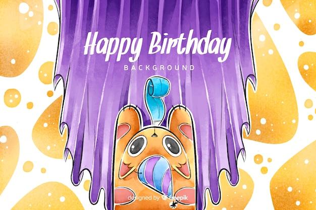 Aquarel stijl gelukkige verjaardag achtergrond