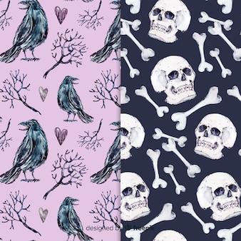 Aquarel stijl halloween patroon collectie