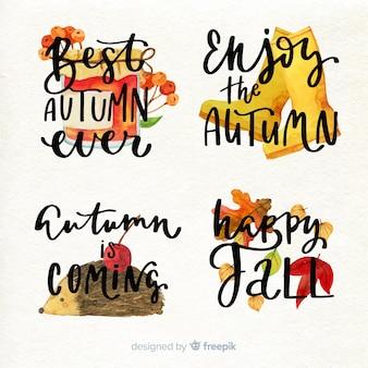 Aquarel stijl herfst badge collectie