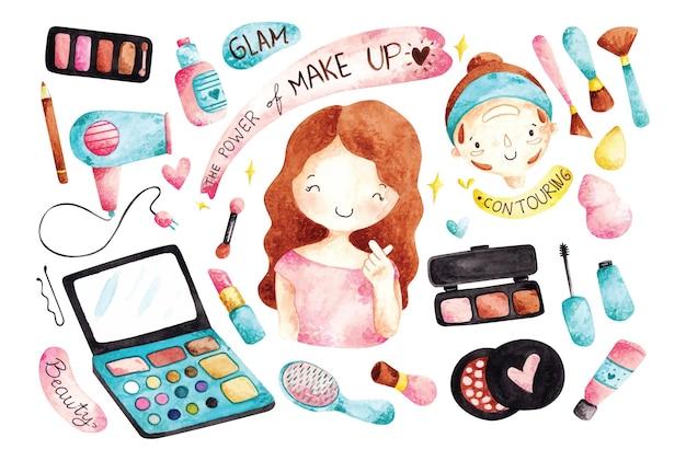 Aquarel stijl make-up kits illustratie