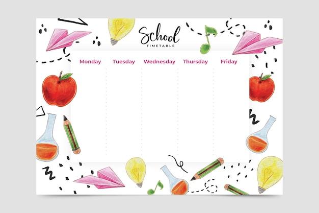 Aquarel stijl terug naar school tijdschema