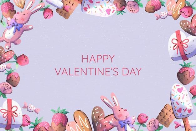 Aquarel stijl valentijnsdag achtergrond