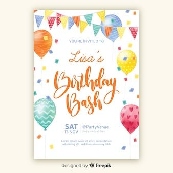 Aquarel stijl verjaardag uitnodiging sjabloon