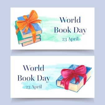 Aquarel stijl wereld boek dag banners