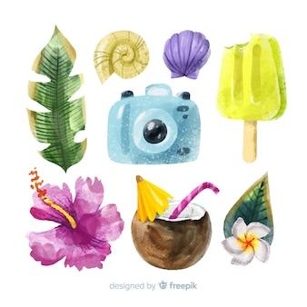 Aquarel stijl zomer element collectie