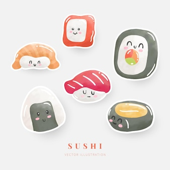 Aquarel sushi sticker set digitale verf