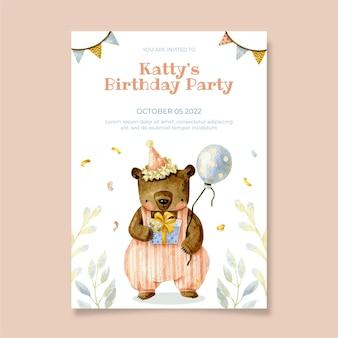 Aquarel teddybeer verjaardagsuitnodiging