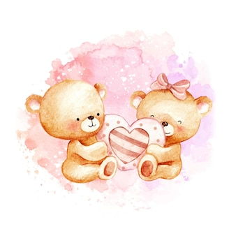 Aquarel teddyberen verliefd
